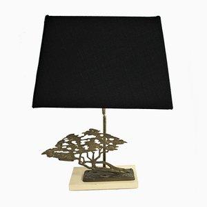 Lampada da tavolo con bonsai in ottone di Willy Daro per Massive, anni '70
