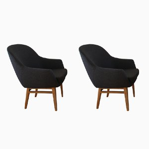 Swedish Teak & Wool Armchairs, 1969, Set of 2
