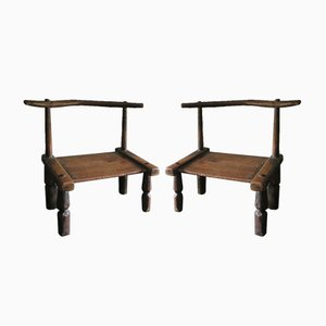 Antique Ivorian Low Chairs, Set of 2