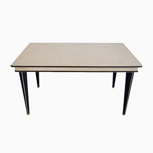Turin Series Cream-Colored Leatherette Dining Table by Umberto Mascagni, 1950s