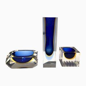 Centro de mesa, cenicero y jabonera vintage de cristal de Murano