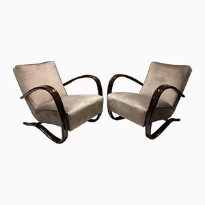 Vintage Kreslo H269 Grey Armchairs by Jindřich Halabala for UP Závody, Set of 2
