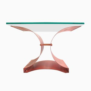 Mesa de centro brutalista de vidrio y cobre, años 70
