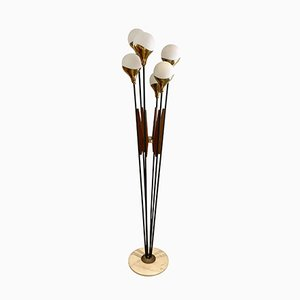 Mid-Century Floor Lamp with Marble Base, Wooden Details and Six Lights from Stilnovo