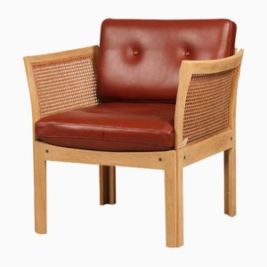 Danish Oak & Cognac Leather Plexus Easy Chair by Illum Wikkelsø for C. F. Christensen, 1970s