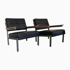 Dutch Leather Lounge Chairs, 1960s, Set of 2