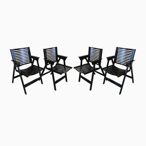 Rex Foldable Chairs in Black Lacquered Plywood by Niko Kralj for Stol, 1960s, Set of 4