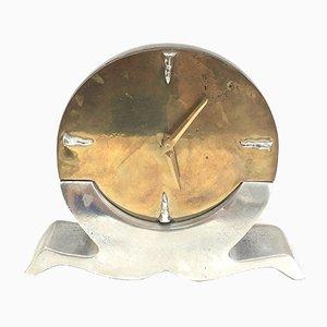 Horloge en Bronze et Aluminium Clock, 1970s