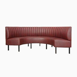 Curved Leatherette Sofa, 1950s