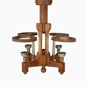 Lámpara de araña de roble y cerámica de Guillerme et Chambron para Votre Maison, años 50