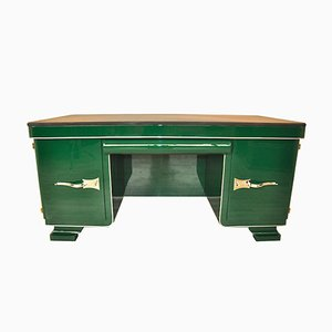 Green Art Deco Desk with Leather Top, 1920s