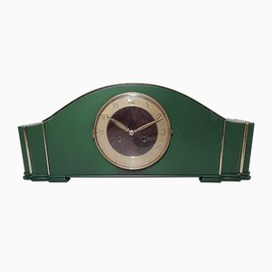 Art Deco Leaf Green Desk Clock, 1940s