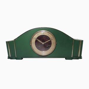 Orologio da scrivania Art Deco verde, anni '40