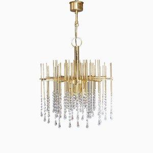 Lámpara de araña Regency de cristal y latón, años 60