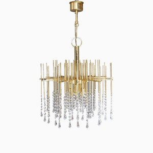 Regency Brass & Crystal Chandelier, 1960s
