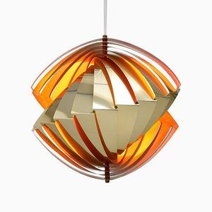 Lámpara de techo Konkylie vintage de latón de Louis Weisdorf para Lyfa