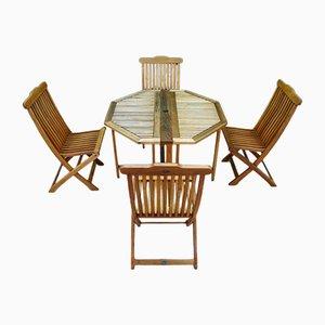 Tavolo Terrace con quattro sedie di Jutlandia, anni '80