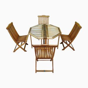 Terrace Table with 4 Chairs from Jutlandia, 1980s