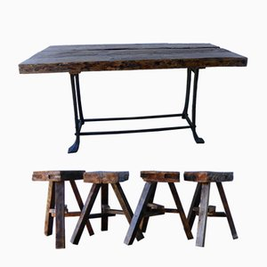 Table & 4 Tabourets Vintage Rustique
