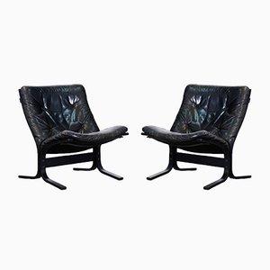 Chaises Vintage en Cuir Black par Ingmar Relling, 1960s, Set de 2