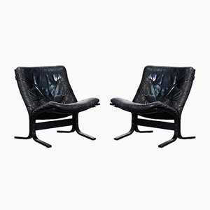 Vintage Black Leather Chairs by Ingmar Relling, 1960s, Set of 2