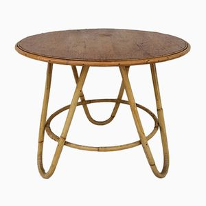Table Vintage en Bambou et Rotin, France, 1960s