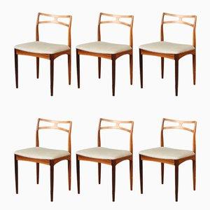 Palisander Esszimmerstühle von Johannes Andersen für Christian Linnebergs Møbelfabrik, 6er Set