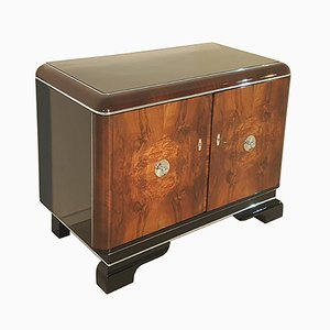 Walnut Commode with Chrome Handles, 1920s