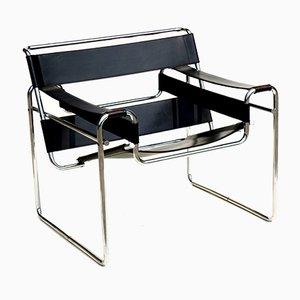 Bauhaus Wassily Chair aus schwarzem Leder von Marcel Breuer für Gavina, 1960er