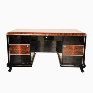 Vintage High-Gloss Burl Desk, 1920s