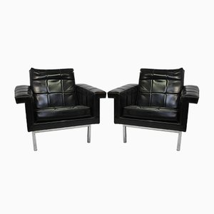 Sessel aus Chrom & schwarzem Skai, 1960er, 2er Set