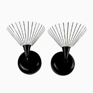 Black and White Glass and Metal Sconces, 1970s, Set of 2