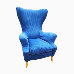 Blau gestreifter Sessel von Edra, 1970er