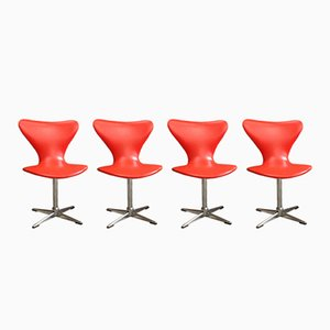 Orange Swivel Chairs, 1960s, Set of 4