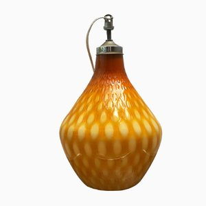 Lampada a sospensione in vetro di Murano color ambra, anni '30