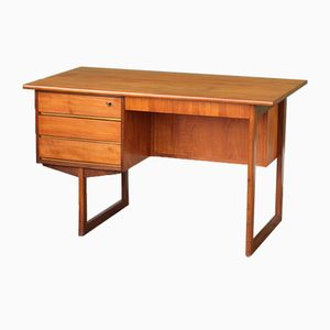 Danish Mid-Century Teak Desk with Sled Base