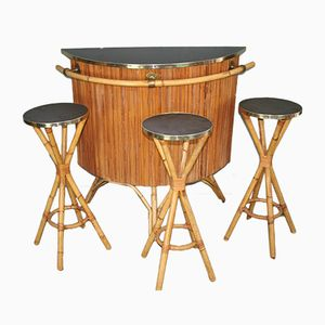 Vintage Bar and 3 Stools in Rattan