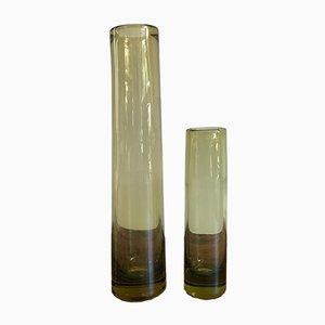 Scandinavian Glass Vases by Per Lütken for Holmegaard, 1950s, Set of 2
