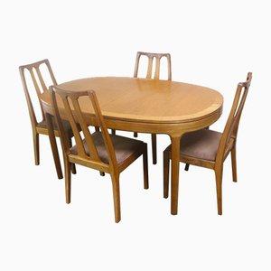 Tavolo da pranzo Mid-Century allungabile con quattro sedie di Nathan, anni '70