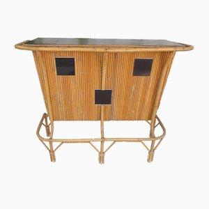 Mueble bar de ratán, años 70