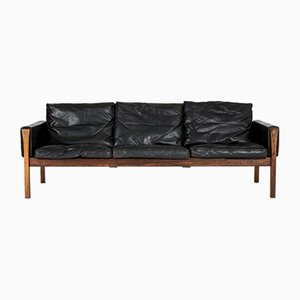 CH 163 Leather Sofa by Hans J. Wegner for Carl Hansen & Søn, 1960s
