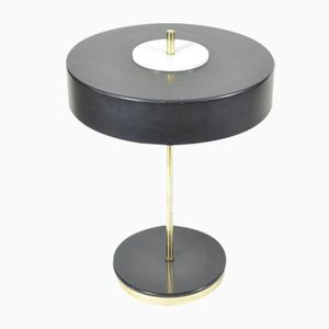 Black Metal & Brass Table Lamp from Kamenický Šenov, 1970s
