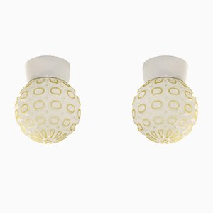 Flush Mount Ceiling Lamps, 1950s, Set of 2