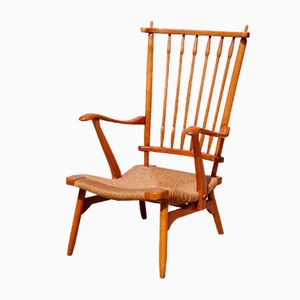 Dutch Spindle Armchair with Rush Seat from De Ster Gelderland, 1950s