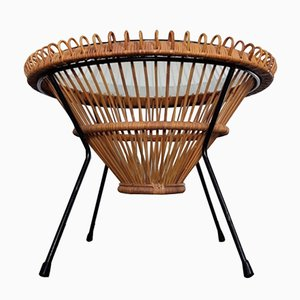 Mid-Century Italian Wicker Astro Coffee Table by Franco Albini