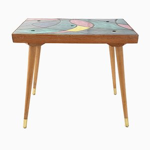 Mid-Century French Multicolored Ceramic & Oak Side Table, 1950s