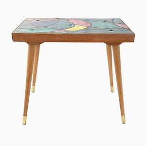Tavolino Mid-Century in quercia e ceramica, Francia, anni '50