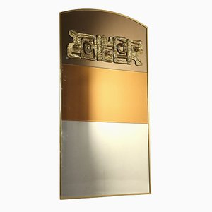 Italian Brass Mirror by Luciano Frigerio, 1970s