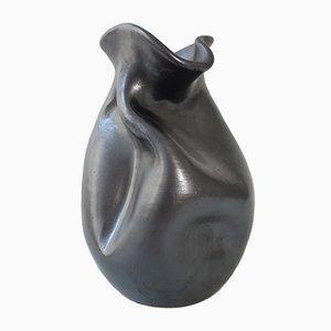 Schwarze spanische Mid-Century Keramikvase von Thomas Buxo, 1960er