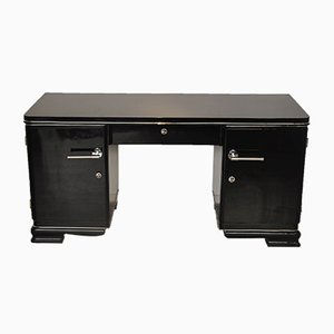 Black Art Deco Desk, 1920s